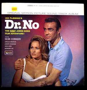 Pictured is a soundtrack long-playing vinyl record for the 1962 Terence Young film Dr. No starring Sean Connery, featuring the soundtrack directed by Terence Young and composed by Monty Norman.