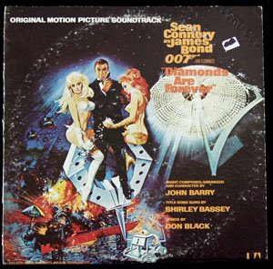 Pictured is a soundtrack long-playing vinyl record for the 1971 Guy Hamilton film Diamonds are Forever starring Sean Connery, featuring the title song performance by Shirley Bassey.