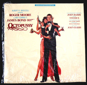 Pictured is a soundtrack long-playing vinyl record for the 1983 John Glen film Octopussy starring Roger Moore, featuring the theme song performance by Rita Coolidge.