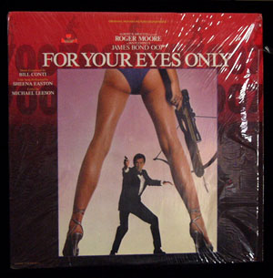 Pictured is a soundtrack long-playing vinyl record for the 1981 John Glen film For Your Eyes Only starring Roger Moore, featuring the title song performance by Sheena Easton.