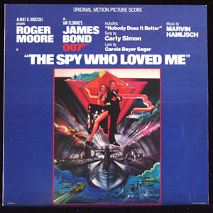 Pictured is a soundtrack long-playing vinyl record for the 1977 Lewis Gilbert film The Spy Who Loved Me starring Roger Moore, featuring the Carly Simon performance of the song Nobody Does it Better, with lyrics by Carole Bayer Sager.