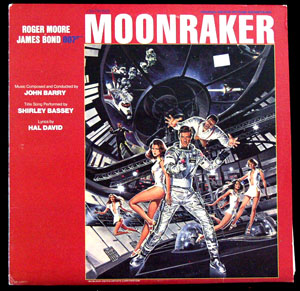 Pictured is a soundtrack long-playing vinyl record for the 1979 Lewis Gilbert film Moore starring Roger Moore, featuring the title song performance by Shirley Bassey, with lyrics by Hal David.