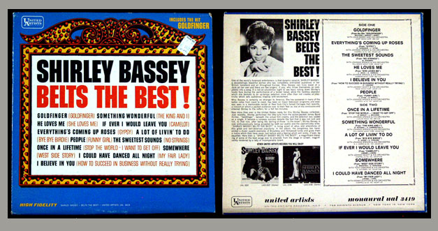 Pictured is a long-playing vinyl record title Shirley Bassey Belts the Best, featuring Goldfinger andother film hits.