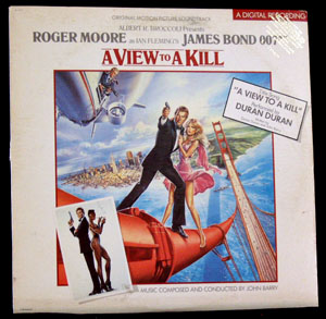 Pictured is a soundtrack long-playing vinyl record for the 1985 John Glen film View to a Kill starring Roger Moore, featuring the title song performance by Duran Duran.