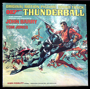 Pictured is a soundtrack long-playing vinyl record for the 1965 Terence Young film Thunderball starring Sean Connery, featuring the title song performance by Tom Jones.