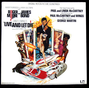 Pictured is a soundtrack long-playing vinyl record for the 1973 Guy Hamilton film Live and Let Die starring Roger Moore, featuring the title song performance by Paul McCartney and Wings.