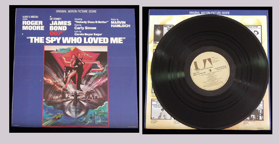 Pictured is the soundtrack LP for the 1977 Lewis Gilbert film The Spy Who Loved Me featuring the title song Nobody Does it Better sung by Carly Simon.