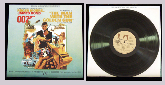 Pictured is a soundtrack long-playing vinyl record for the 1974 Guy Hamilton film The Man with the Golden Gun starring Roger Moore, featuring the title song performance by Lulu.