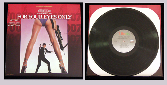 Pictured is a 1981 Soundtrack LP for the John Glen film For Your Eyes Only starring Roger Moore and featuring the title song performance by Sheena Easton.