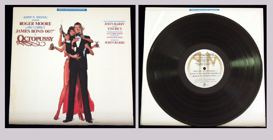 Pictured is a soundtrack long-playing vinyl record for the 1983 John Glen film Octopussy starring Roger Moore, featuring the theme song All Time High performance by Rita Coolidge.