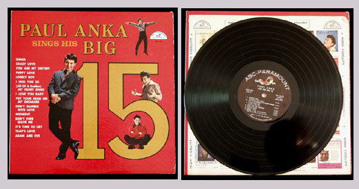 Pictured is the 1960 Paul Anka monaural LP Paul Anka sings his Big 15 ABC-Paramount ABC-323.