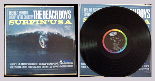 Pictured is the Beach Boys 1963 LP Surfin USA.