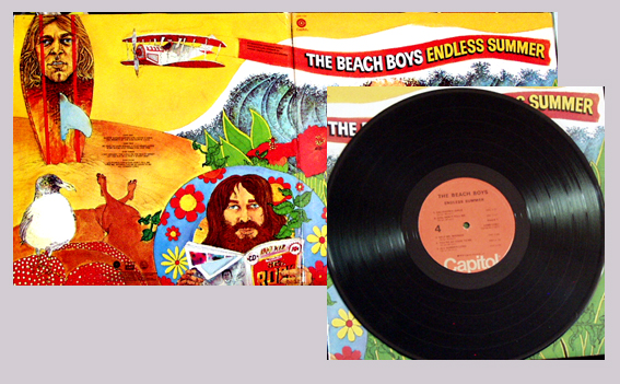 Pictured is the Beach Boys 1974 restrospective 2-LP set Endless Summer Capitol SVBB11307.