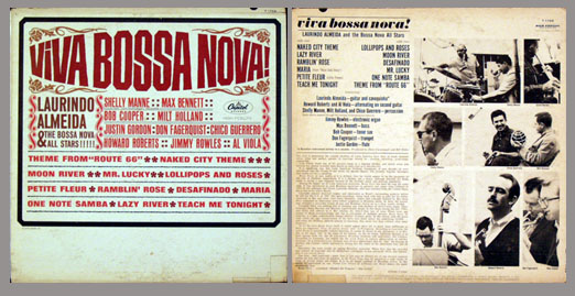 Pictured is the 1962 Laurindo Almeida Capitol T1759 monaural LP Viva Bossa Nova!