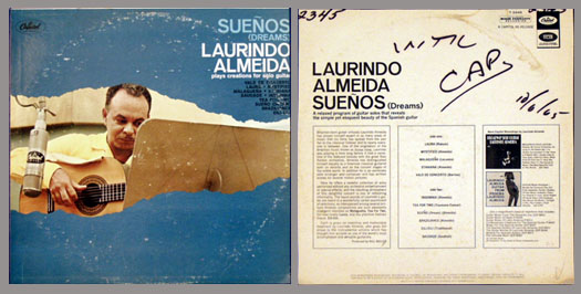 Pictured is the Capitol T 2345 Monaural LP Suenos by Laurindo Almeida.