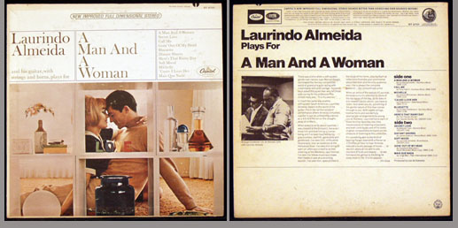 Pictured is the Capitol ST-2701 stereo LP by Laurindo Almeida A Man and a Woman.