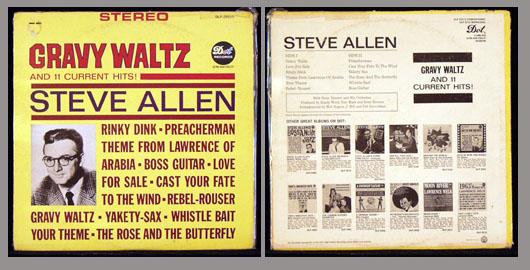 Pictured is the Steve Allen 1959 Dot DLP 25515 stereo LP Gravy Waltz and 11 Current Hits.